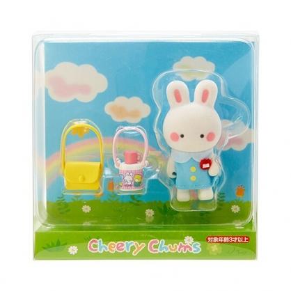 〔小禮堂〕凱莉兔 迷你植絨玩偶娃娃《藍白》掌上公仔.擺飾.復古學園系列