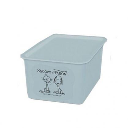 〔小禮堂〕史努比 日製方形塑膠無把拿蓋收納箱《S.淡藍.貓咪》4L.置物箱.玩具箱