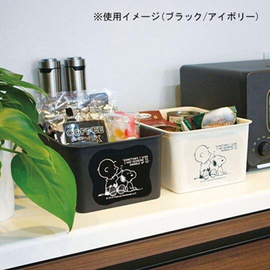 〔小禮堂〕史努比 日製方形塑膠無把拿蓋收納箱《S.米.摸頭》4L.置物箱.玩具箱