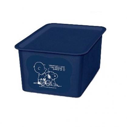 〔小禮堂〕史努比 日製方形塑膠無把拿蓋收納箱《S.深藍.摸頭》4L.置物箱.玩具箱