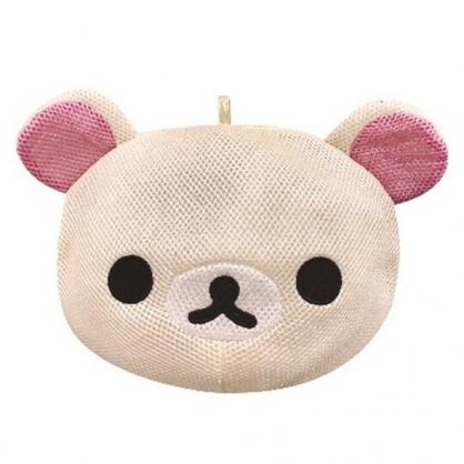 〔小禮堂〕 懶懶熊 牛奶熊 大臉造型圓筒網狀洗衣袋《米》洗衣網袋.收納袋