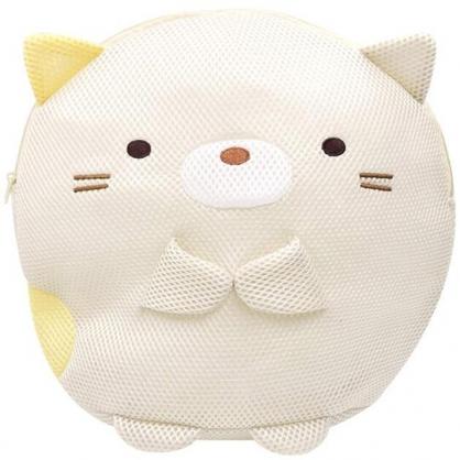 〔小禮堂〕 角落生物 貓咪 全身造型圓筒網狀洗衣袋《黃》洗衣網袋.收納袋