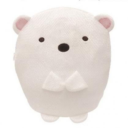〔小禮堂〕 角落生物 北極熊 全身造型圓筒網狀洗衣袋《白》洗衣網袋.收納袋
