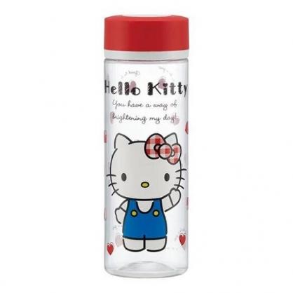 〔小禮堂〕Hello Kitty 透明隨身冷水瓶《紅蓋.招手》400ml.水壺.隨身瓶