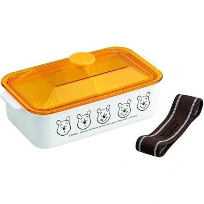 〔小禮堂〕迪士尼 小熊維尼 日製透明蓋便當盒附束帶《黃白.大臉》520ml.保鮮盒.食物盒