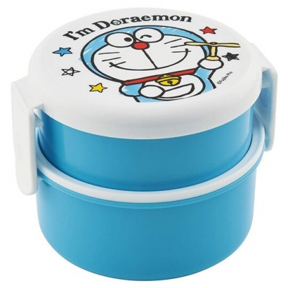 〔小禮堂〕哆啦A夢 日製迷你圓形雙層便當盒《藍白.竹蜻蜓》保鮮盒.食物盒.餐盒