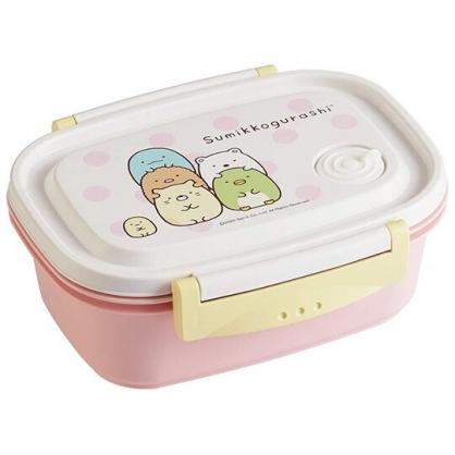 〔小禮堂〕角落生物 日製輕量方形雙面扣便當盒《粉白.點點》550ml.保鮮盒.食物盒