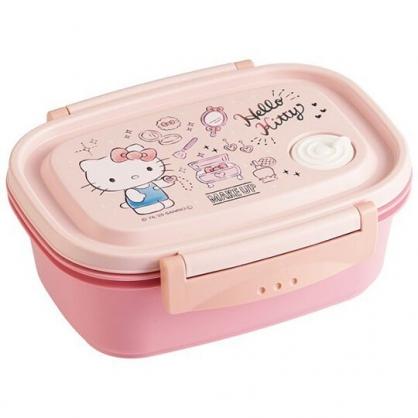 〔小禮堂〕Hello Kitty 日製輕量方形雙面扣便當盒《粉白.珠寶盒》550ml.保鮮盒.食物盒