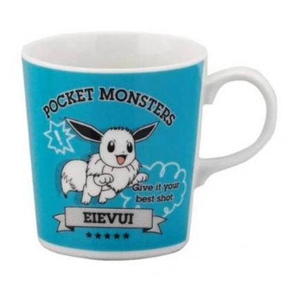 〔小禮堂〕神奇寶貝Pokemon伊布 日製陶瓷馬克杯《綠白.跳躍》茶杯.咖啡杯.YAMAKA陶瓷
