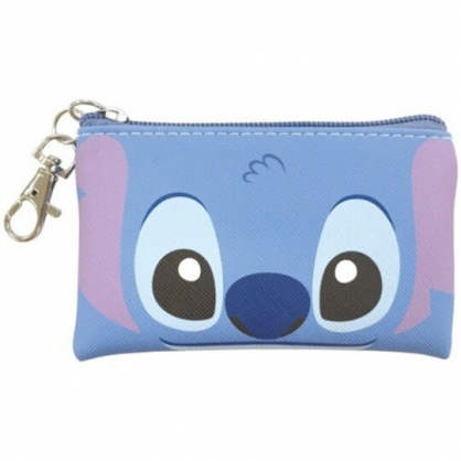 〔小禮堂〕迪士尼 史迪奇 方形皮質拉鍊零錢包《藍.大臉》掛飾.收納包.耳機包