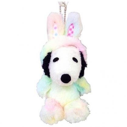 〔小禮堂〕史努比 復活節絨毛玩偶娃娃吊飾《白彩.兔裝》掛飾.鑰匙圈