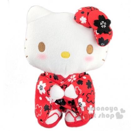 〔小禮堂〕Hello Kitty 和服絨毛玩偶娃娃《S.紅.櫻花》新年娃娃.擺飾