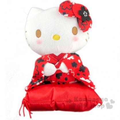 〔小禮堂〕Hello Kitty 和服絨毛玩偶娃娃《S.紅.坐姿》新年娃娃.擺飾