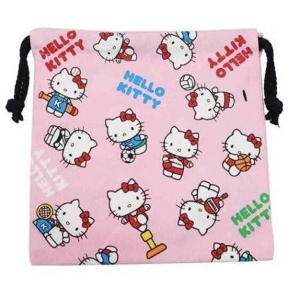 〔小禮堂〕Hello Kitty 棉質束口袋《粉白.運動裝》20x20cm.縮口袋.收納袋