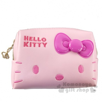 〔小禮堂〕Hello Kitty 方形皮質拉鍊化妝包《桃粉.大臉》收納包.萬用包