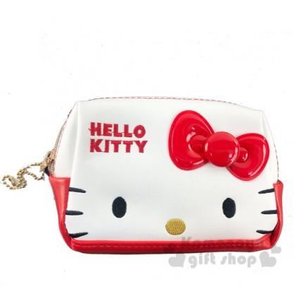 〔小禮堂〕Hello Kitty 方形皮質拉鍊化妝包《紅白.大臉》收納包.萬用包