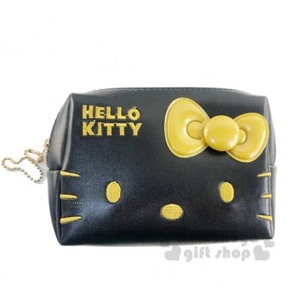 〔小禮堂〕Hello Kitty 方形皮質拉鍊化妝包《黑金.大臉》收納包.萬用包