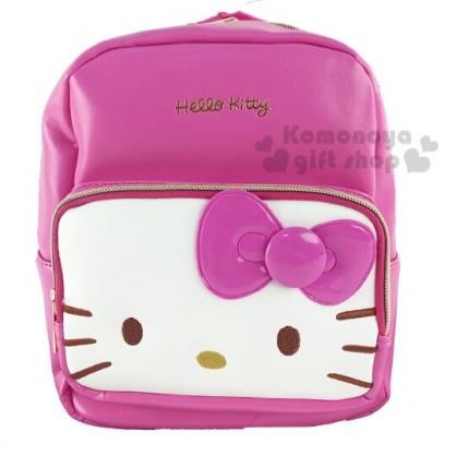 〔小禮堂〕Hello Kitty 迷你皮質雙層拉鍊後背包《桃白.大臉》雙肩包.外出包