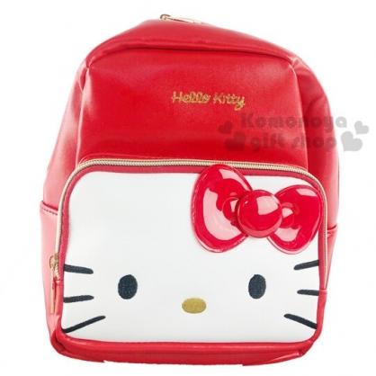 〔小禮堂〕Hello Kitty 迷你皮質雙層拉鍊後背包《紅白.大臉》雙肩包.外出包
