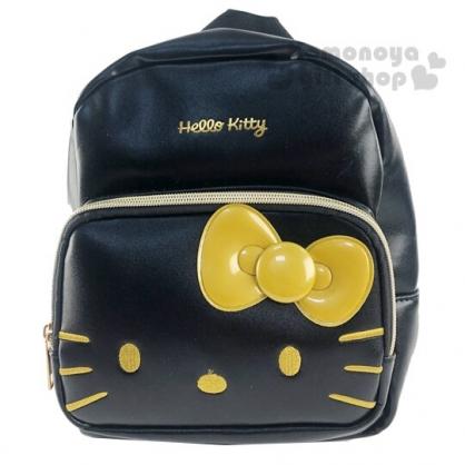 〔小禮堂〕Hello Kitty 迷你皮質雙層拉鍊後背包《黑金.大臉》雙肩包.外出包