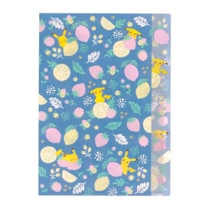 〔小禮堂〕神奇寶貝Pokemon皮卡丘 日製L型分類文件夾《A4.藍粉.水果》資料夾.L夾.檔案夾