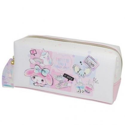 〔小禮堂〕美樂蒂 皮質拉鍊筆袋《粉白.格圖》化妝包.收納包.鉛筆盒