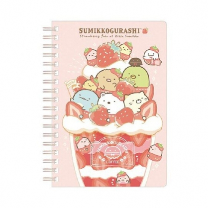 〔小禮堂〕角落生物 日製左翻線圈橫線筆記本《紅粉.草莓聖代》記事本.手札