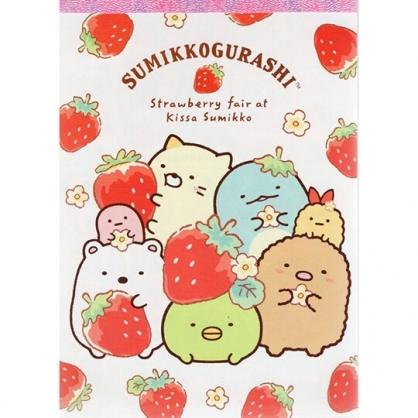 〔小禮堂〕角落生物 日製便條本《紅白.拿草莓》便條紙.留言紙