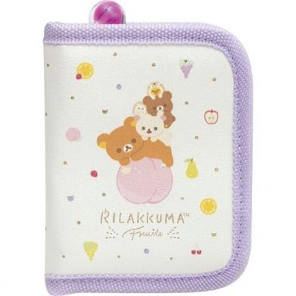 〔小禮堂〕懶懶熊 拉拉熊 方形皮質拉鍊飾品收納包《紫黃.水果》化妝包