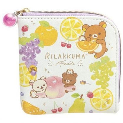 〔小禮堂〕懶懶熊 拉拉熊 方形皮質拉鍊零錢包《黃紫.水果》鑰匙包.收納包