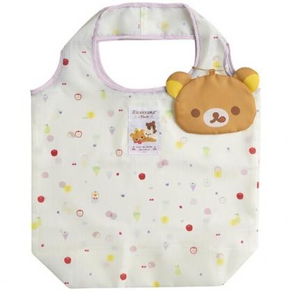 〔小禮堂〕懶懶熊 拉拉熊 折疊尼龍環保購物袋《棕黃.大臉》手提袋.環保袋