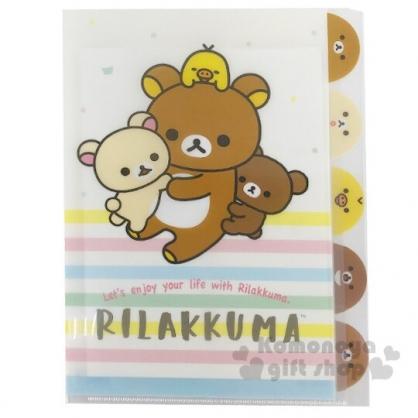 〔小禮堂〕懶懶熊 拉拉熊 日製L型分類文件夾《A4.米棕.橫紋》資料夾.L夾.檔案夾