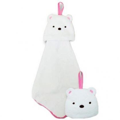 〔小禮堂〕角落生物 北極熊 大臉造型可掛式純棉割絨擦手巾《白》30x30cm.毛巾