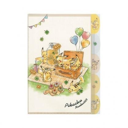 〔小禮堂〕神奇寶貝Pokemon皮卡丘 日製L型分類文件夾《A4.米綠.野餐》資料夾.L夾.檔案夾