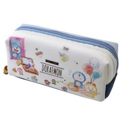 〔小禮堂〕哆啦A夢 皮質雙層拉鍊筆袋《藍白.野餐》化妝包.收納包.鉛筆盒