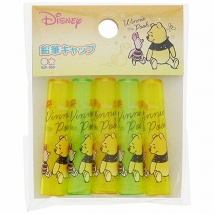 〔小禮堂〕迪士尼 小熊維尼 日製塑膠鉛筆筆蓋組《5入.黃綠.對看》鉛筆帽.學童文具