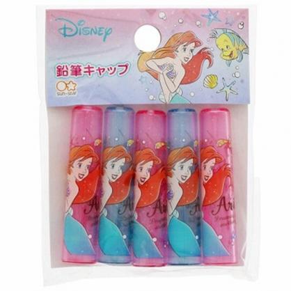 〔小禮堂〕迪士尼 小美人魚 日製塑膠鉛筆筆蓋組《5入.粉綠.對看》鉛筆帽.學童文具