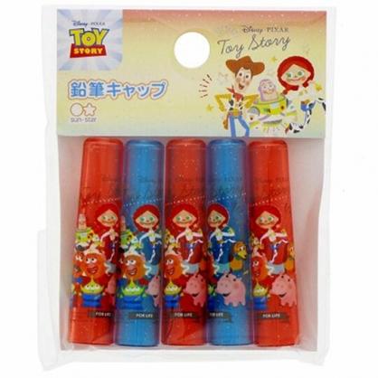 〔小禮堂〕迪士尼 玩具總動員 日製塑膠鉛筆筆蓋組《5入.橘藍.角色》鉛筆帽.學童文具
