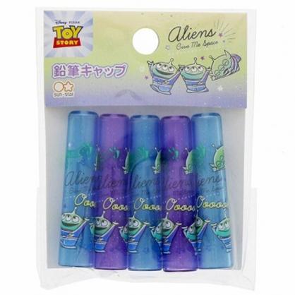 〔小禮堂〕迪士尼 三眼怪 日製塑膠鉛筆筆蓋組《5入.藍紫.舉雙手》鉛筆帽.學童文具