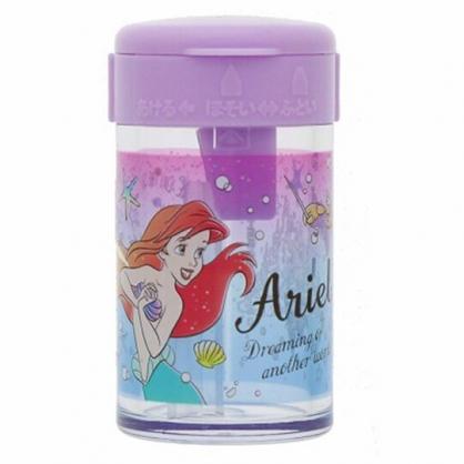 〔小禮堂〕迪士尼 小美人魚 日製圓形單孔削筆器《紫.看城堡》削鉛筆器.學童文具