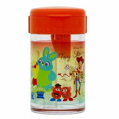 〔小禮堂〕迪士尼 玩具總動員 日製圓形單孔削筆器《橘.角色》削鉛筆器.學童文具