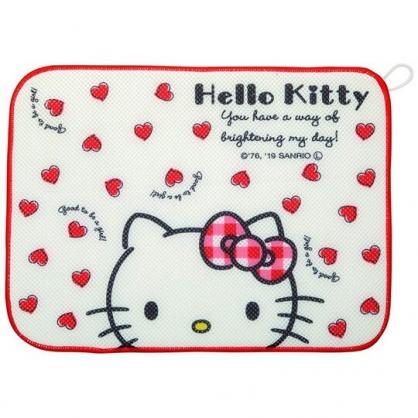 〔小禮堂〕Hello Kitty 方形網狀圓角吸水桌墊《白紅.愛心》31x41cm.餐墊.吸濕墊