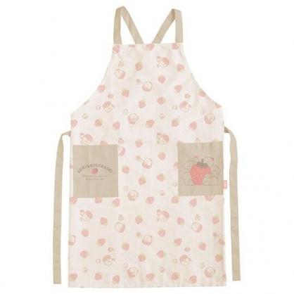 〔小禮堂〕角落生物 綁帶式帆布圍裙《紅白.草莓》圍兜.工作服