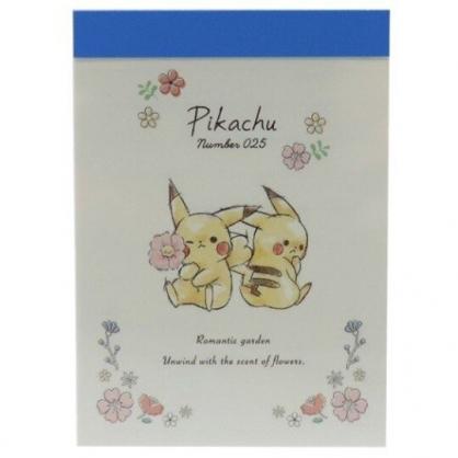 〔小禮堂〕神奇寶貝Pokemon皮卡丘 日製迷你便條本《米藍.拿花》便條紙.留言紙