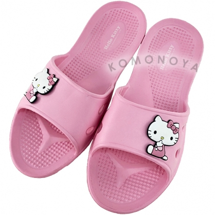 〔小禮堂〕Hello Kitty 極輕防滑塑膠拖鞋《粉.摸嘴》室內拖鞋.浴室拖鞋