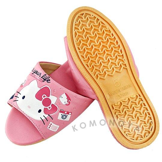 〔小禮堂〕Hello Kitty 兒童皮質拖鞋《粉.45週年》室內拖鞋.皮拖