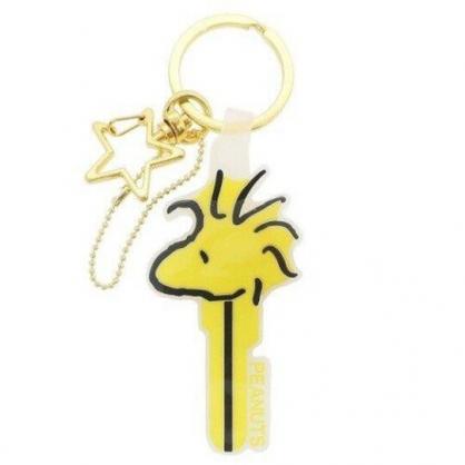〔小禮堂〕史努比 糊塗塔客 大臉鑰匙造型矽膠鑰匙圈《黃》掛飾.吊飾.鎖圈