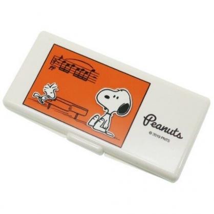 〔小禮堂〕史努比 日製攜帶式棉花棒收納盒鏡盒《米橘.彈鋼琴》置物盒.棉棒盒.飾品盒