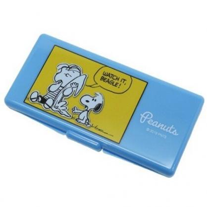 〔小禮堂〕史努比 日製攜帶式棉花棒收納盒鏡盒《藍黃.對話框》置物盒.棉棒盒.飾品盒