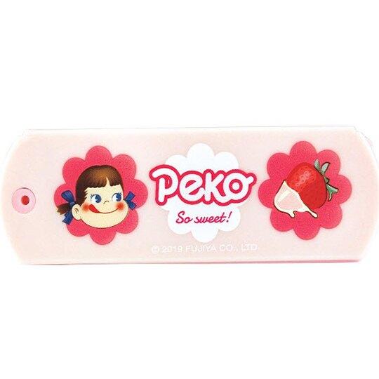 〔小禮堂〕不二家PEKO 塑膠折疊隨身鏡梳組《粉.草莓》隨身鏡.隨身梳